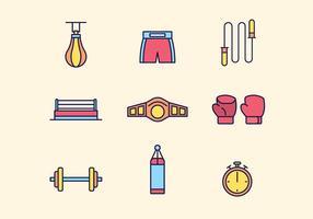 Icônes de boxe gratuites vecteur