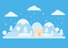 Paysage d'hiver gratuit Et Chalet Vector