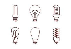 Electricité Lamp Icon Set vecteur