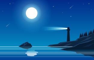 nuit silencieuse à la plage vecteur