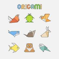 divers conception d'origami animal mignon vecteur
