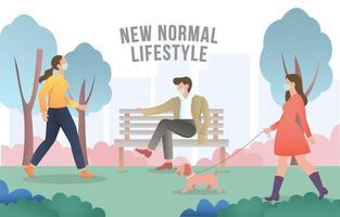 la vie quotidienne dans le parc pendant la nouvelle normalité vecteur