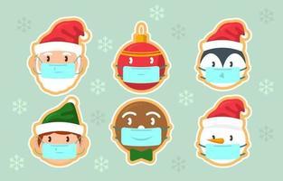 jolie fête des personnages de Noël colorés avec protocole