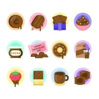 ensemble d'icônes de beaux articles de jour de chocolat vecteur