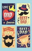 collection de cartes de voeux de fête des pères de style vintage vecteur
