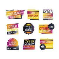 pack d'étiquettes de vente futuriste cyber lundi