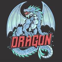 dragon plein corps avec texte vecteur