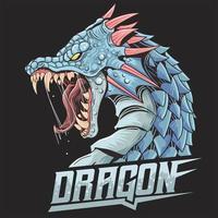tête de dragon en colère avec des cornes vecteur