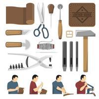 processus fait à la main de l'ensemble d'outils de production de cuir