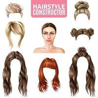 ensemble de constructeur de coiffure réaliste