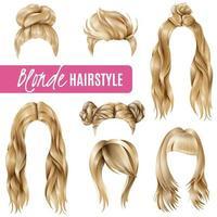 ensemble de coiffure blonde réaliste