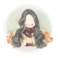 dessiné à la main mignonne petite fille aux cheveux longs vecteur