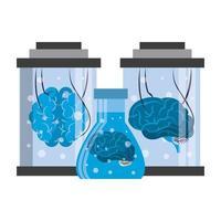 cerveaux dans des tubes à essai et des cylindres de maintenance