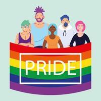 personnes avec drapeau de fierté lgbtq, égalité et droits des homosexuels vecteur