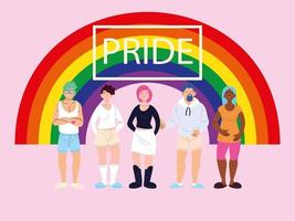 personnes avec fond arc-en-ciel, symbole de la fierté gay vecteur