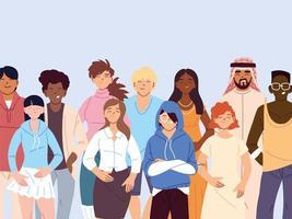 Groupe de personnes multiculturelles dans des vêtements décontractés debout vecteur