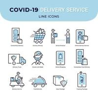 icônes de service de livraison sans contact sûr vecteur
