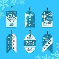 magnifique étiquette de vente d'hiver bleue