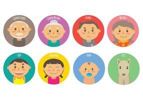 Les membres de la Familia icônes vectorielles