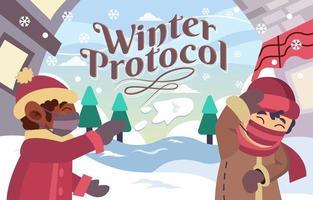 enfants jouant à la neige en hiver avec protocole