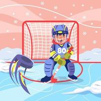 enfant jouant au hockey sur glace en hiver