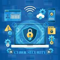 concept de journée de cybersécurité bleue vecteur