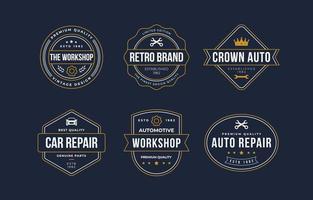 collection de logo mobile auto vintage vecteur