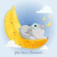 petit éléphant dormant sur la lune de la banane vecteur