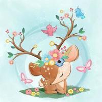 cerf de printemps mignon avec des fleurs et des oiseaux autour des bois vecteur