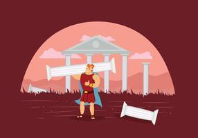 Hercules gratuit avec des ruines de Temple Illustration vecteur