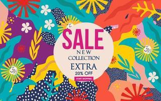 bannière de site Web de vente de feuillage coloré