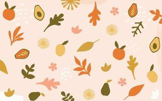 fond de feuilles et de fleurs vecteur