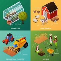ensemble d'agriculture biologique isométrique