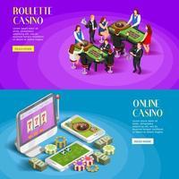 ensemble de bannière de modèle de casino isométrique
