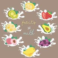 icônes de grande collection de fruits dans les éclaboussures de lait vecteur