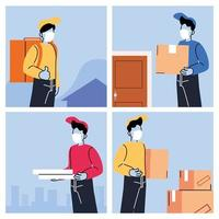 courriers avec des masques livrant des produits à la porte vecteur