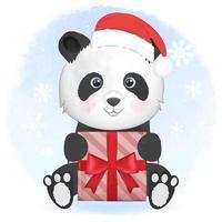 mignon panda avec boîte-cadeau en hiver