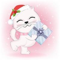 chaton avec boîte-cadeau
