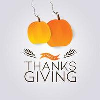 texte de Thanksgiving heureux avec des citrouilles coupées en papier suspendu vecteur