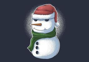 bonhomme de neige portant un bonnet de noel pour Noël