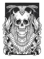 dessin au trait crâne et serpent vecteur