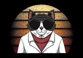 chat de mode rétro sur la conception de soleil vintage vecteur