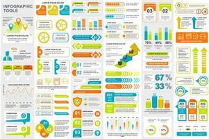 ensemble de visualisation de données d'éléments infographiques colorés
