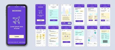 interface de smartphone de l'interface utilisateur de réservation violet, vert, jaune vecteur
