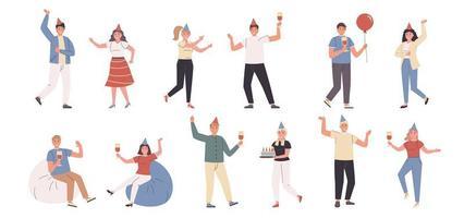 fête d'anniversaire, célébration, jeu de caractères plat amusant et danse vecteur