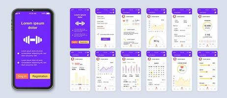 conception d'interface d'application mobile ui fitness violet et blanc vecteur