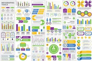 ensemble de visualisation de données d'éléments infographiques colorés vecteur