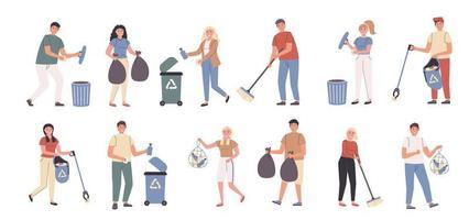 travail bénévole, nettoyage de la ville, jeu de caractères plat pour la collecte des ordures vecteur