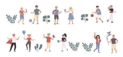 passe-temps et intérêts pour enfants jeu de caractères plat