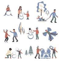 ensemble de personnages de dessins animés de vêtements d'hiver